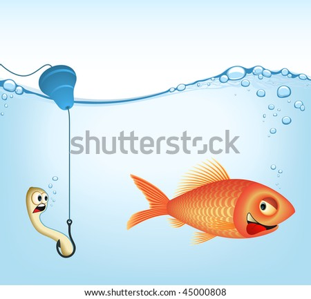 The fish and earthworm. Concept of fishery and food. Add or remove details (VECTOR IMAGE).