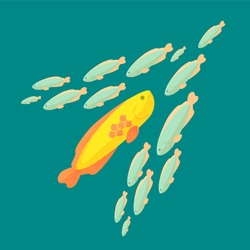 The fish is swimming against the common current, colorful vector flat illustration