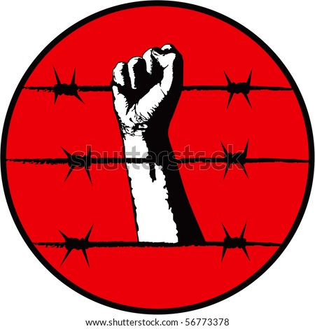The fist and barbed wire. Symbol of the political repression