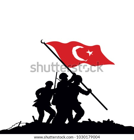the flag is turkish soldiers