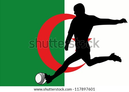 The flag of Algeria with a football player