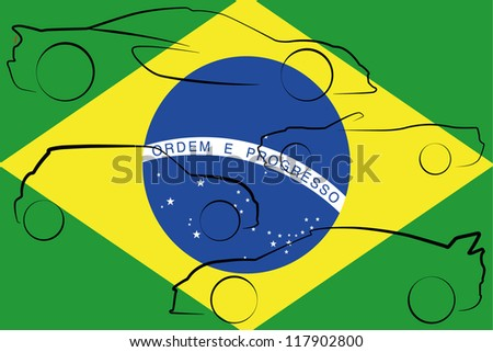 The flag of Brazil with the outlines of many cars of different types