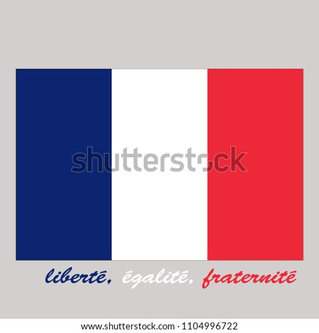 The flag of France drawn properly and the slogan in French on light background. Vector
