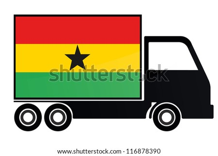 The flag of Ghana painted on the side of the silhouette of a truck