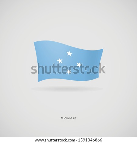 The flag of Micronesia is flying layered vector image.