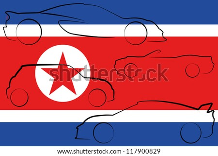 the flag of north korea with
