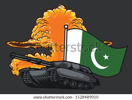 the flag of pakistan with tank