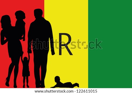 The flag of Rawanda with the silhouette of a family