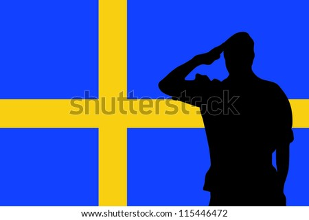 The flag of Sweden and the silhouette of a soldier saluting