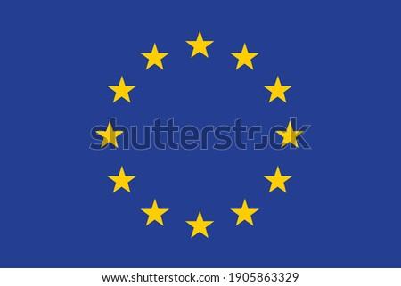 The flag of the European Union, the European Union. EU.Official standard flag, standard color.digital illustration,computer illustration,vector illustration