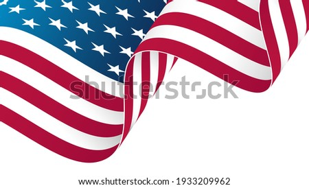 The flag of the United States of America. Waving American national flag background. Template for holiday greetings, invitations and celebrate banners. Vector illustration.