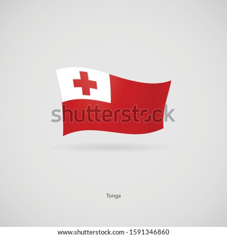 The flag of Tonga is flying layered vector image.