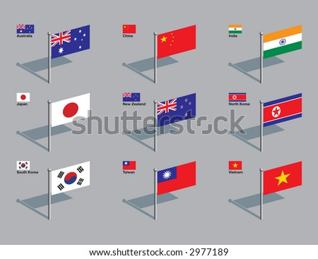 The flags of Australia, China, India, Japan, New Zealand, North Korea, South Korea, Taiwan, and Vietnam. Drawn in CMYK and placed on individual layers. - stock vector