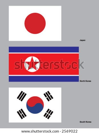 The flags of Japan, North Korea, and South Korea. Drawn in CMYK and placed on individual layers. - stock vector