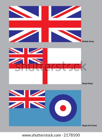 The 3 flags of the British military drawn in CMYK and placed on individual layers. - stock vector