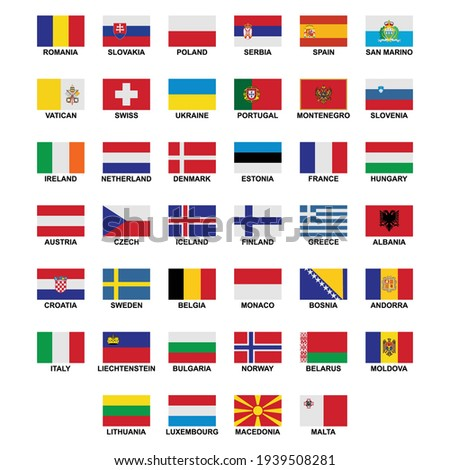 the flags of the country in the continent of europe icon set vector sign symbol