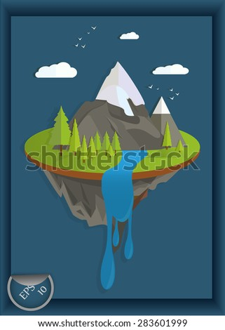 the flat landscape of mountains, trees and waterfall