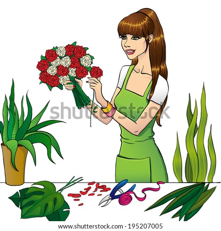 The Florist girl with flower on izolated background