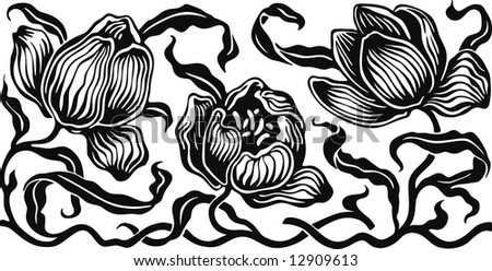 The flowers in style of an ancient engraving - stock vector