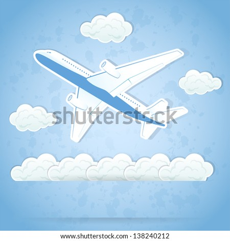 The flying airplane and clouds on sky background, illustration.