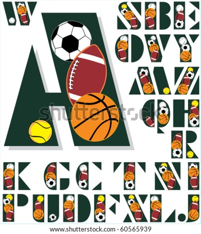 The Font From Sport Balls Stock Vector 60565939 : Shutterstock