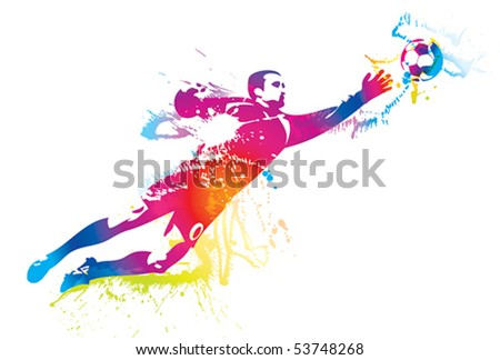The football goalkeeper catches a ball. Vector illustration.