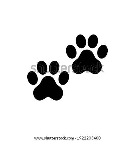 The footprint of an animal. Flat black and white icon. Photo stock ©