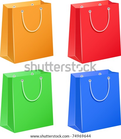 The four color paper bags - stock vector