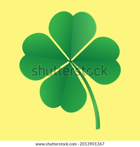 The four-leaf clover is a symbol of good luck. Isolated on yellow background. 3 D. Vector illustration. Foto stock ©