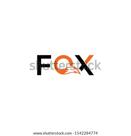 """The FOX text and inside the """"O"""" waving figure fox tail sweetheart, fox wolf logo icon vector illustration element isolated"""