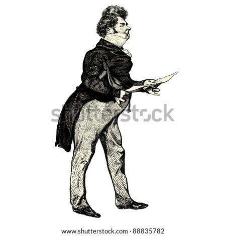 "The french gentleman - Vintage engraved illustration - ""Les Francais"" by L.Curmer in 1842 France"
