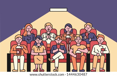 The front view of the audience sitting in the theater. Audiences are eating popcorn or watching a cell phone. flat design style minimal vector illustration.