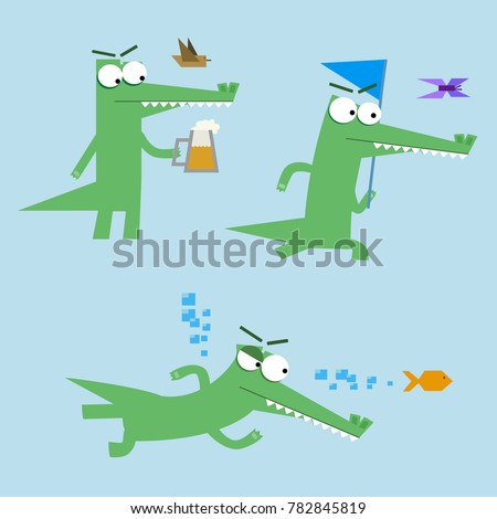 The funny crocodile is hunting. The cartoon crocodile is drinking a beer. The cartoon crocodile is catching a butterfly. The cartoon crocodile is chasing a fish.