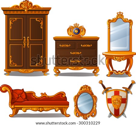 the furniture of the interior