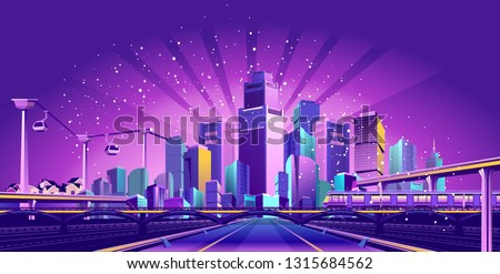 The futuristic night resort city is illuminated by neon lights and light rays, traffic, roads, bridges, estokadas and suspended cable car,