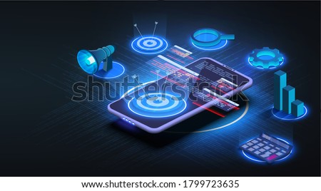 The futuristic target is located on an isometric phone. Business target banner. Concept of work strategy, company goal and focus. Growth strategy or financial goal concept. Vector illustration