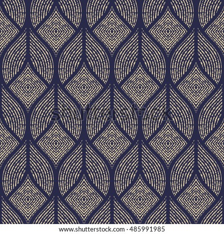 The geometric abstract pattern. Seamless vector background. Dark blue and gold texture. Graphic modern pattern