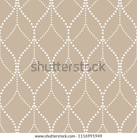 The geometric pattern with wavy lines, points. Seamless vector background. White and beige texture. Simple lattice graphic design