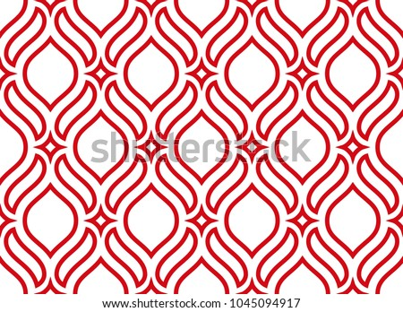 The geometric pattern with wavy lines. Seamless vector background. White and red texture. Simple lattice graphic design