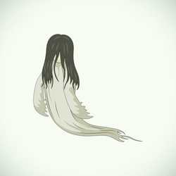 The Ghost of a Woman Dressed in White and Long Hair