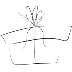 The gift box sketch vector illustration, simple black and white box with bow and fir, present christmas box picture
