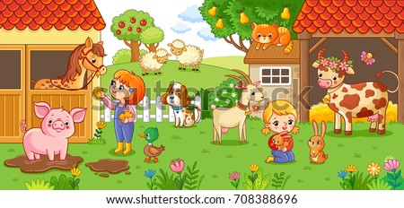 the girl and mother on the farm
