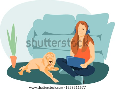 the girl and the dog were lying