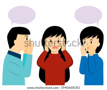 The girl closing her ears from her friends that talking about gossip, rumor, secret or fake news. Woman can not stand to listen whispering from her friends cartoon vector Photo stock ©