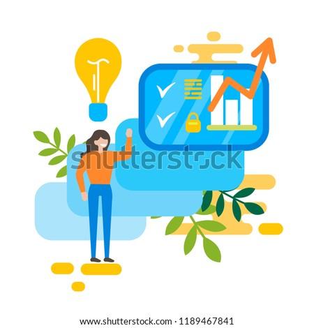 The girl developed the idea. Creative process. Business concept. Flat design. Vector illustration.