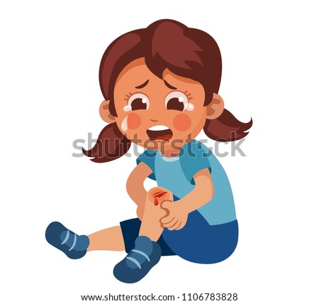 the girl fell and hurt her knee. Child broken knee. Crying and  painful. vector illustration