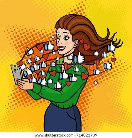 The girl gets likes and hearts on social media. A beautiful lady is holding a phone and laughing. Vector background in comic retro pop art style. Party invitation. EPS 10.