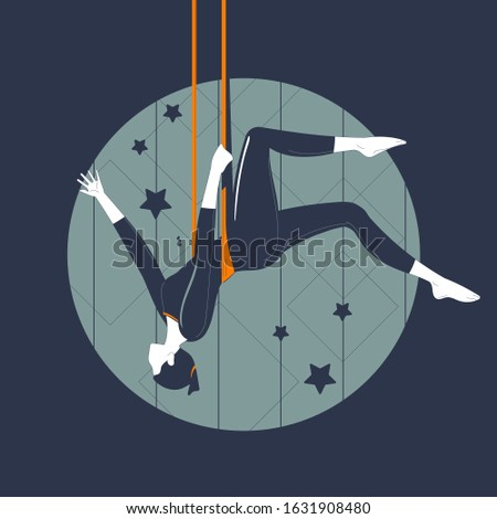 The girl hangs on the trapeze upside down. Vintage vector illustration