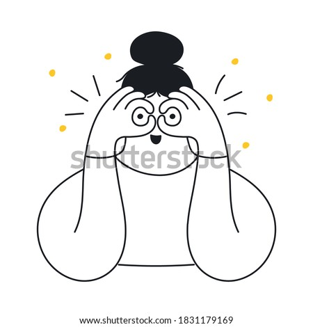The girl holds her hands in front of her eyes in the form of binoculars. Search, vision, exploration, looking for something, and discovery concept. Flat line elegance vector illustration