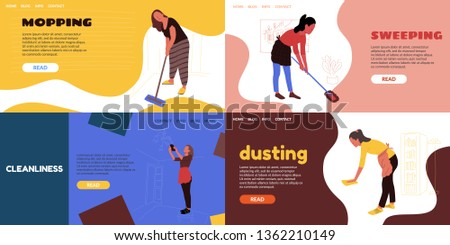 The girl in the apron is gathering dust. Cleaning the house of different surfaces with a rag. Woman washes a glass lamp. Mop washes and sweeps the floor. Love cleanliness.